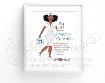 Caregivin' Curves- African American Art Black Woman Art Nurse Natural Hair Art Black Art Print