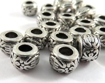 20 Antique Silver Floral Spacers Tibetan Style Donut Beads Large 3mm Hole LF/NF/CF 8x5.5mm - 20 pc - M7077-AS20