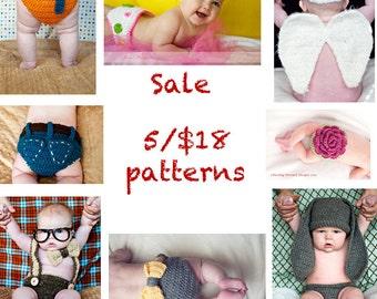 Sale- 5 Crochet Patterns for 18 Dollars