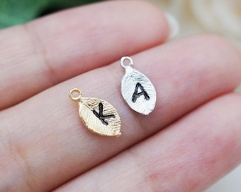 ADD a Charm, Personalized Gold or Silver leaf for initial personalized Necklace, Bracelet, extra, Multiple For EarringsNation Customer Only