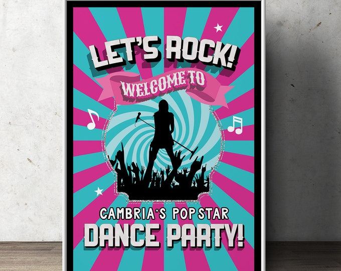 Welcome Party sign, Pop Star party, Rock Star party, baby shower, party decorations, party supplies, rockstar, rockstar sign, birthday