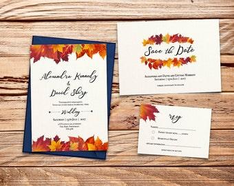 Autumn / Fall leaves Printable Wedding Invitation Set