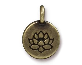 3 TierraCast Lotus 5/8 inch ( 16 mm ) Brass Plated Pewter Charms