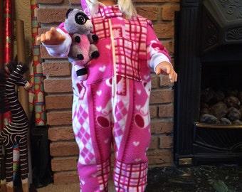 Pink Fleece Onesie Age 2-3