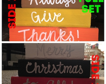 Reversible Wooden Mini 3 Tier Blocks|Merry Christmas to All/Always give thanks