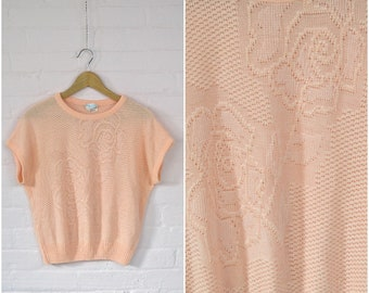 80s peach summer sweater · loose knit rose print top · pastel knit cover up · 80s short sleeve summer pullover · oversize large