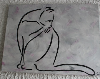 Cat SILHOUETTE painting gray bottoms