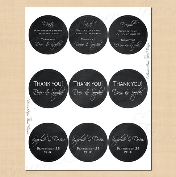 Chalkboard Round Labels 25 Text Editable Printable