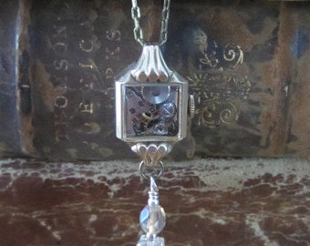 Steampunk necklace  - Precious time - Steampunk watch parts - Repurposed Art