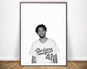 J Cole Print * Hip Hop Poster J Cole Poster J Cole Wall Art Hip Hop Art J Cole in Dodgers Shirt J Cole Merch J Cole Lyric Poster J Cole Art