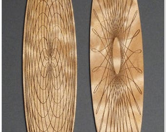 Engraved Wood Bookmark with Spirograph Design