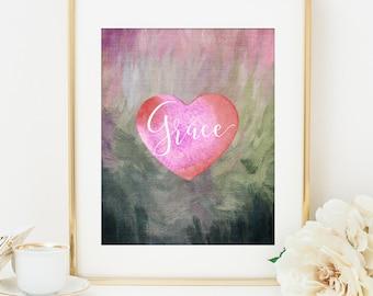 Bible Verse Printable Art Print, Grace Print, Grace Printable, 8x10, Motivational Print, Christian Art, Scripture Art Printable