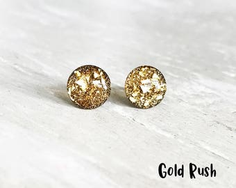 Gold glitter stud earrings, Gold earrings, Sparkly earrings, Gold stud earrings, Gold flake earrings, Small studs Ear Sugar