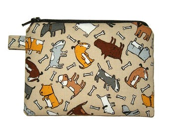 Tossed Dogs Zipper Coin Purse Small Brown Padded Pouch - Zippered Pouch - Dog Purse