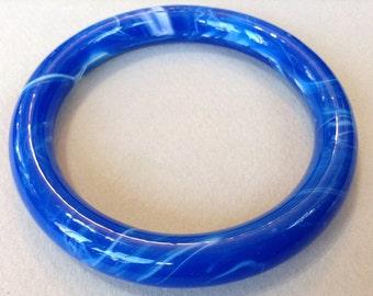 Blue Marbled Glass Bangle Bracelet