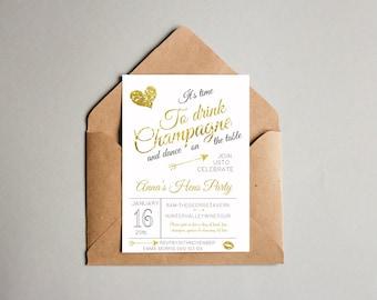 Glitter Gold Bachelorette Hen's Party Invitation