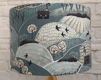 Lampshade, Countryside, fields, blue, hares, birds, fabric, handmade ceiling/table, 30cm or 20cm, rural, countryside, nature lover