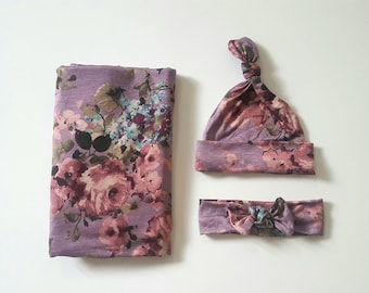 "Baby swaddle set ""Stella"" Lilac and Rose Bouquet Floral, Luxury Collection, baby photo prop, hospital, baby gift,  stretchy swaddle,"