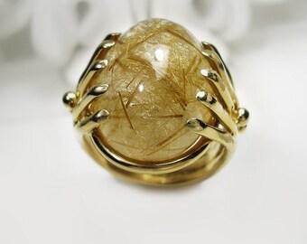 Golden Rutile Quartz Cabochon Ring