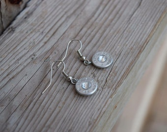 Sterling Silver Dangle Bullet Earrings with Swarovski Crystals
