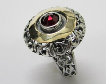 Garnet ring, silver gold ring, unique ring, vintage ring, women ring, eternity ring, designer ring, two tone ring valentines jewelry