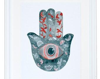Hamsa Protection from Evil Eye Art Print