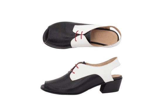 for open shipping white black Shoes slingbacks summer free handmade toe sandals heel leather adikilav Women's Low the and RW0wT