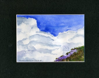 Clouds Sky Mountain Watercolor-Landscape-Wedding-Man Gift-Art Collector-Original