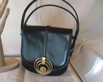 Vintage Dalon Black Leather Purse with Gold Detail