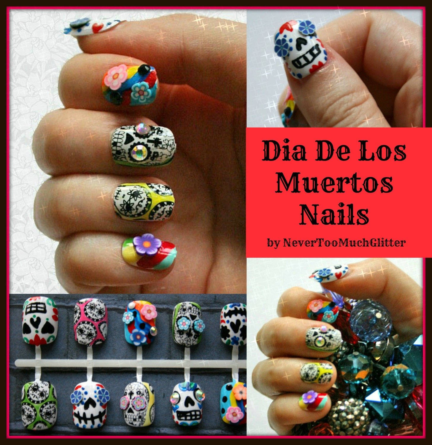 Sugar Skulls Fake Nails | Dia De Los Muertos Press On Nails | Day Of ...