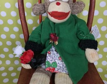 "Sock Monkey - Vintage - ""Rosebud"""