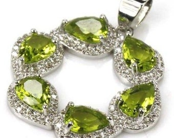 Sterling Silver Green Peridot & AAA CZ Accent Circle Pendant