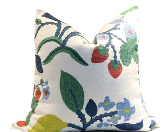 New! Colourful Botanical Linen Pillow Cover