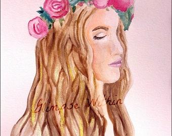 Bohemian flower girl in watercolor
