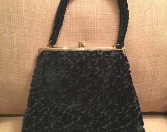 Vintage Jana Black Velour Handbag, Floral Pattern, Mid Century Purse, Holiday Purse