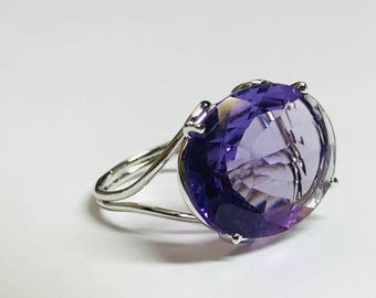 15x 20 mm NATURAL AMETHYST GEMSTONE , February Birthstone , Valentine Gift , Engagement Ring , lovely evening jewellery .....