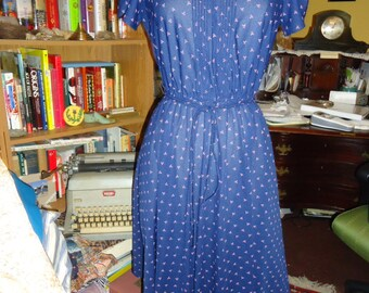 Vintage Navy Blue Patterned Dress