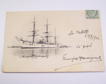 "1900 Greek postcard - Military navy ship ""Admiral Miaoulis"" sent to A. Kanaris"