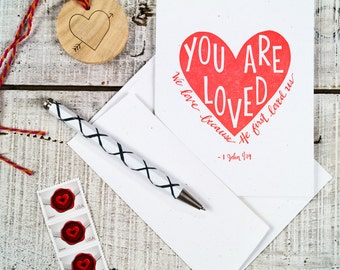 You are Loved Scripture Letterpress Card