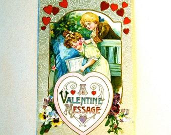 Vintage Winsch Valentine Post Card, Antique Pretty Girl & Boy