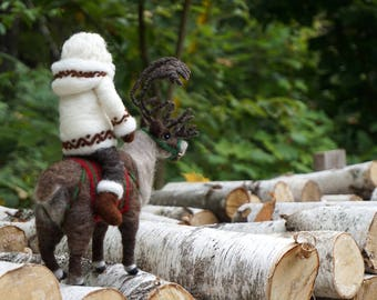 Needle Felted Reindeer and Santa Claus - Needle Felted Wool Father Christmas And Animal Soft Sculpture