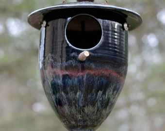 Pottery birdhouse, ceramic birdhouse, garden art, wrens and chickadees, nest, handmade pottery, Evensong Estate, birdhouses