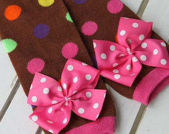 Brown and Pink Polka Dot Leg Warmers -- Leg Warmers with Hot Pink Polka Dot Bows