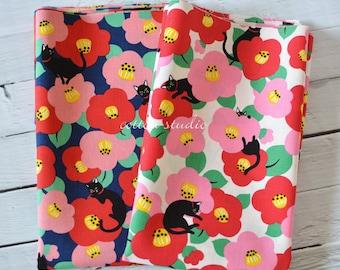 Japanese Fabric Cat Camellia Fat Quarter or 1/4 Yard set