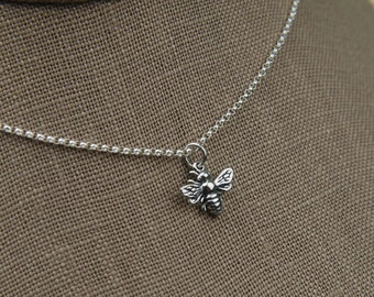 Small bee necklace in sterling silver, bee necklace, bee jewelry, honey bee, bee charm, silver honey bee, sterling silver bee
