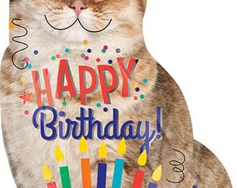 """Happy Birthday Smiling Cat Balloon- 33"""" Balloon- Funny Animal Balloon"""