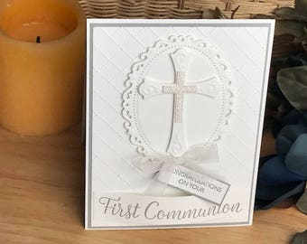 1st Communion Card, First Communion Card, White First Communion Card, Congratulations on your first communion card