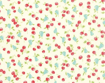 Bonnie and Camille Fabric - Vintage Picnic Fabric - Cream - Floral Cherries Pears Natural   - 55123 17