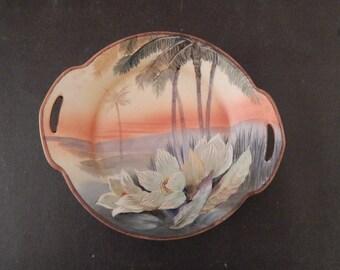 Vintage NIPPON Pierced Handles Scenic Shallow Bowl
