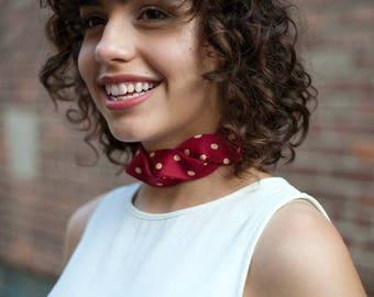 Necktie Choker - Silk Choker - Fabric Choker - Necktie Necklace - Hipster Clothing - Red Polka Dot Isabella Choker. 20